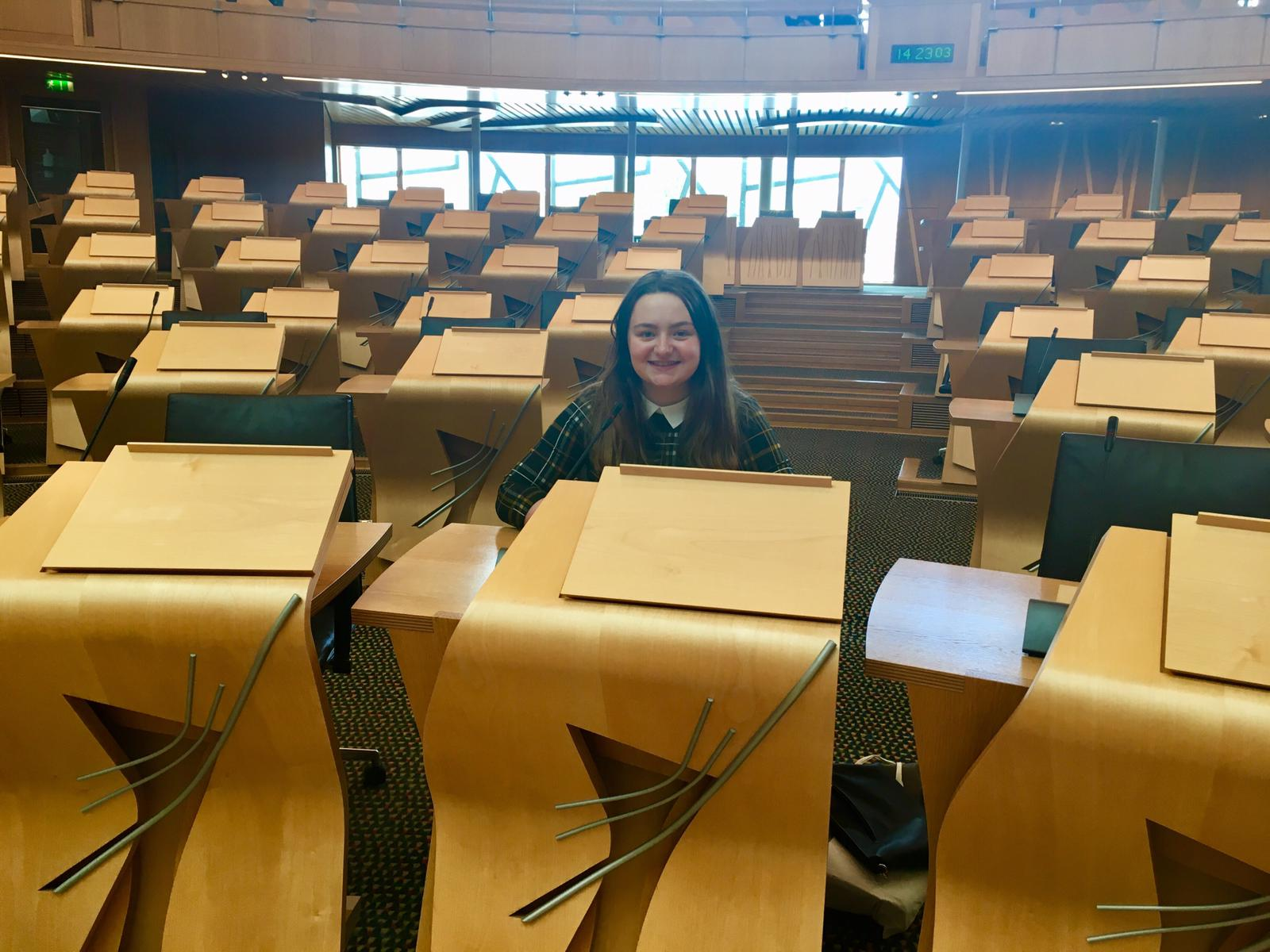 Hope sitting in the Debating Chamber in The Scottish Parliament