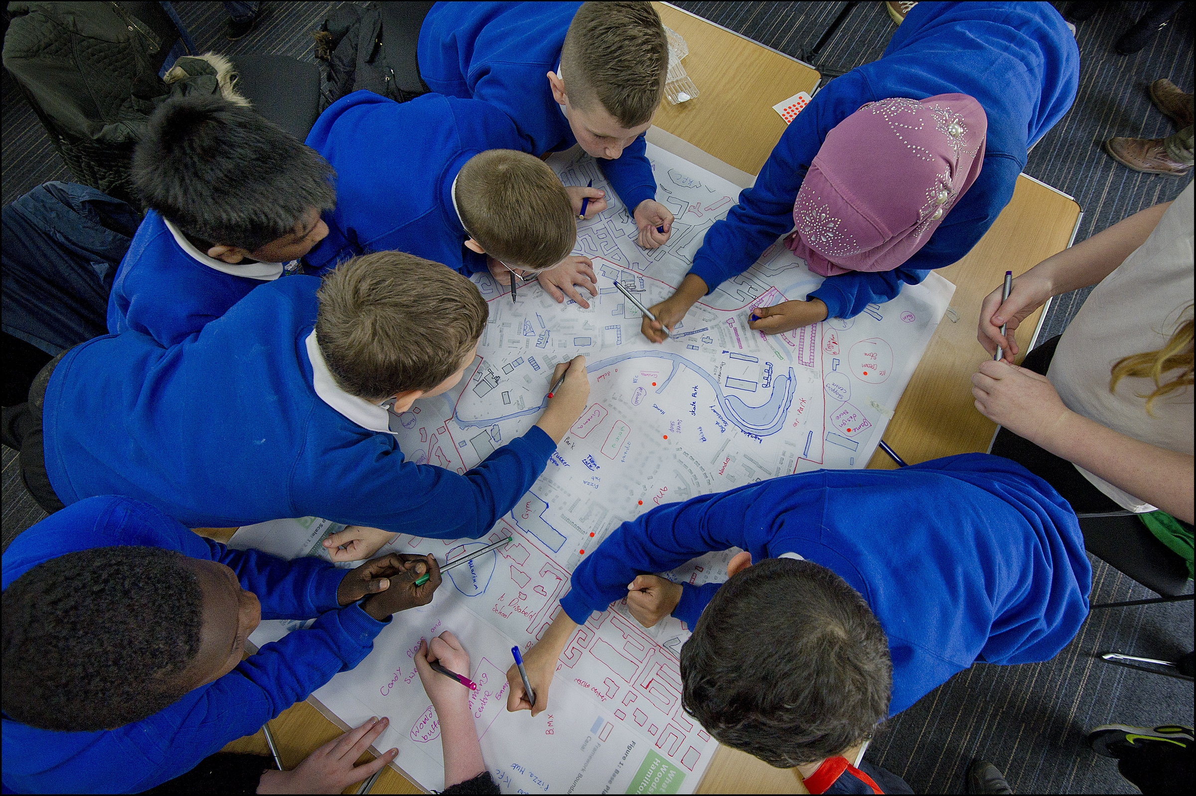 Glasgow school pupils sharing their ideas for the future of the canal side