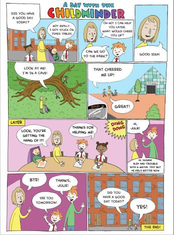 A comic strip called A day with the childminder