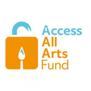 Logo for the Access All Arts Fund, showing a lock with a paintbrush inside.